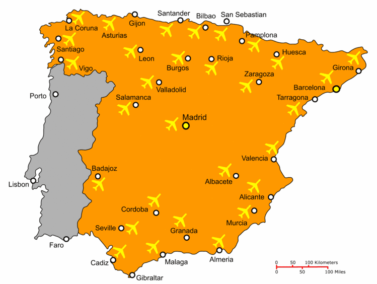 international airports spain map Flights To Spain Dream Properties International Buy A Property international airports spain map